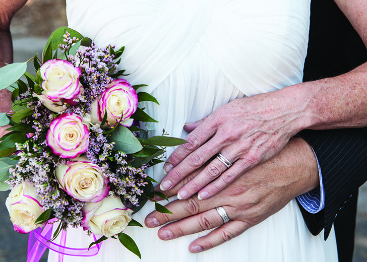 close up of married couple with rings