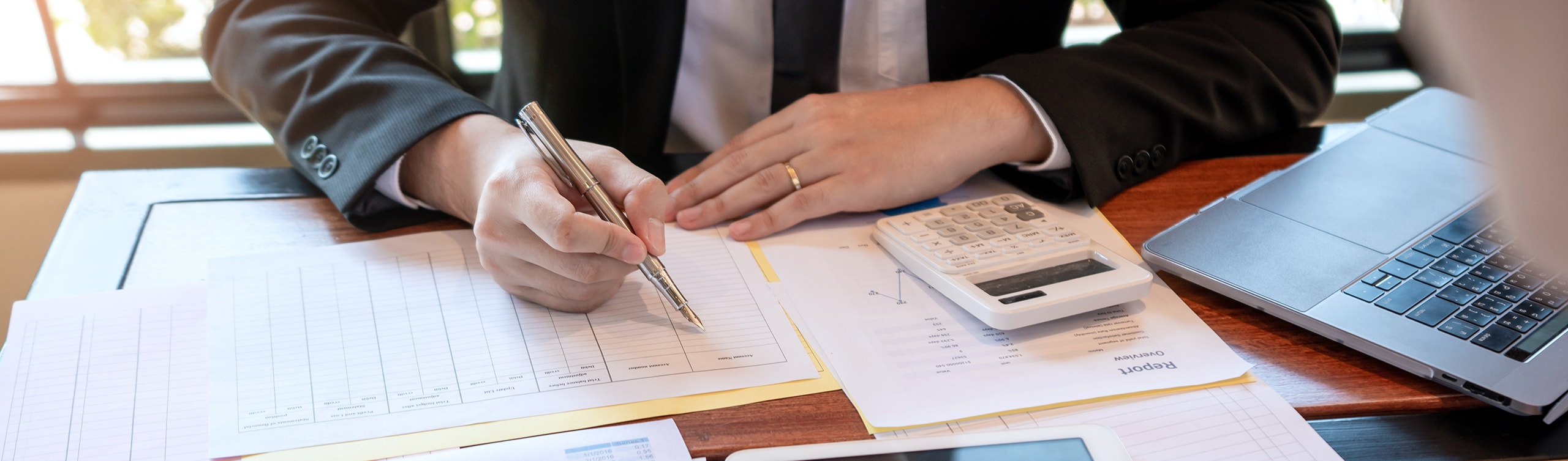 close up of gentleman going of tax planning